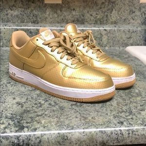 Gold Nike Air Force one shoe size 11 men .